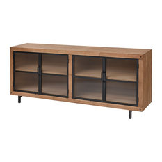 29.75? Brown Natural Wood Tone Media Cabinet