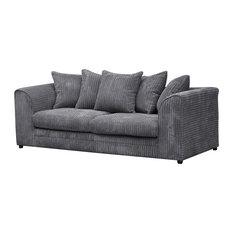 Sofasonline Darcey Cushioned 3 Seater Sofa Grey Sofas