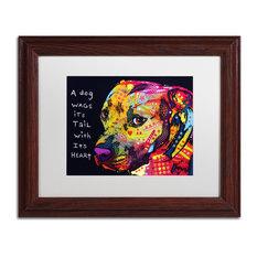 """Dean Russo 'Gratitude Pitbull' Framed Art, Wood Frame, 11""""x14"""", White Matte"""