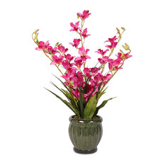 Lush Beauty Pink Silk Dendrobium Orchids With Glazed Green Ceramic Pot