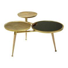 Tavolino da salotto in legno di mango e metallo dorato Gatsby