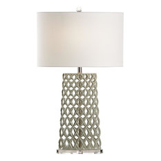 CHELSEA HOUSE Table Lamp 1-Light Polished Nickel Cream Shade Linen
