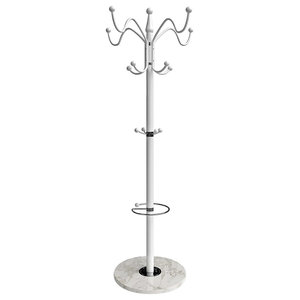 Contemporary Stylish Tall Clothes Rack, Chromed Metal With Multiple Hooks, White