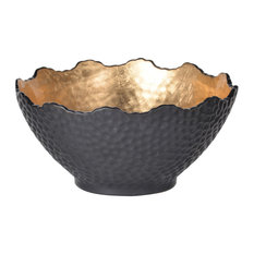 Metro Decorative Bowl in Gold And Black