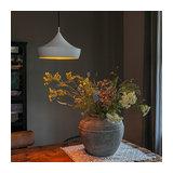 Modern Pendant Lamp White with Golden Inner Shade - Paul