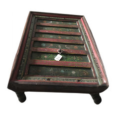 Mogul Interior - Consigned Floral Painted Rectangle Antique Indian Coffee Table - Coffee Tables