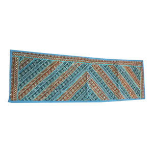 Mogul Interior - Consigned Blue and Brown Sari Banjara Embroidered Tapestry Runner - Tapestries
