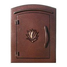 "Non-Locking Column Mount Mailbox With ""Decorative Agave Logo"", Antique Copper"