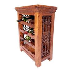 Sutton Rustic Solid Wood Iron Grill 16 Bottles Floor Wine Bar Rack