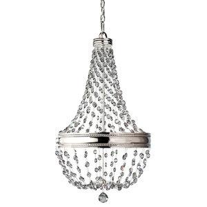 Crystal 6-Light Chandelier, Polished Nickel