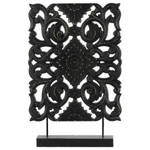 Wood Tall Rectangular Filigree Ornament on Rectangular Stand,Matte Finish, Black