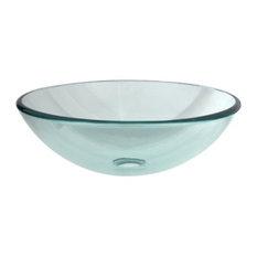 Transparent Crystal Glass Vessel Bathroom Sink without Overflow Hole EVSPCC1