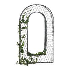 Luxe Elegant French Wire Lattice Arch Mirror Vine Floral Arbor Outdoor Trellis