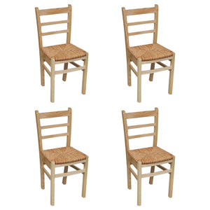 VidaXL Wooden Dinning Chairs, Natural Varnish, Set of 4