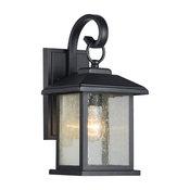 Mira Textured Black Outdoor Wall Sconce Clear Seedy Glass Lantern Light