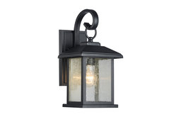 Mira Textured Black Outdoor Wall Sconce Clear Seedy Glass Lantern Light