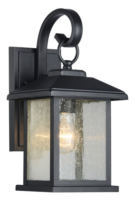 Amazing Mira Textured Black Outdoor Wall Sconce Clear Seedy Glass Lantern Lamp Light