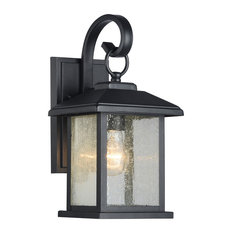 Edvivi LLC - Mira Textured Black Outdoor Wall Sconce Clear Seedy Glass Lantern Light - Outdoor Wall Lights and Sconces