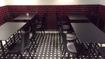 carrelage 10x10 octogonal noir à cabochon blanc - C3D