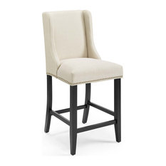 Baron Upholstered Fabric Counter Stool, Beige