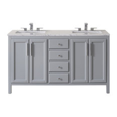 "Wright 59"" Gray Double Sink Bathroom Vanity, Without Faucet"