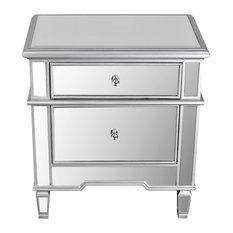 furniture import u0026 export inc 2drawer mirrored nightstand nightstands and bedside