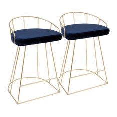 LumiSource Canary Counter Stools Set Of 2 Gold And Blue Velvet 26-inch
