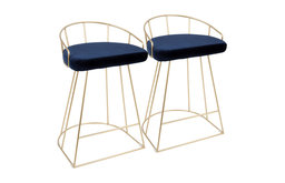 """LumiSource Canary Counter Stools, Set of 2, Gold and Blue Velvet, 26"""""""