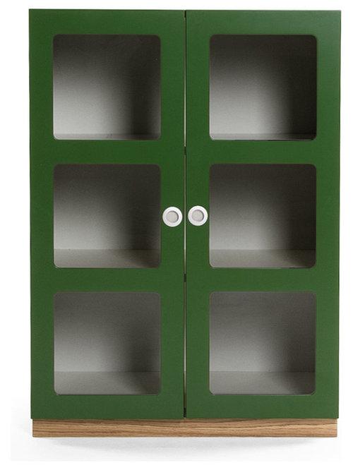 Reader 6 Skåp Med Sockel 90 cm, Grön/Ek - Opbevaringsskabe
