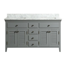 Callum Gray Bathroom Vanity With Marble Counter, 60""