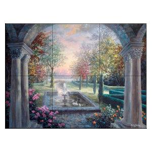 Tile Mural, Soulful Mediterranean Tranquility, 43.2x32.4 cm