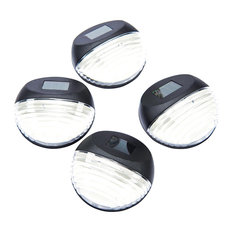 Round Solar-Powered Fence Lights, Set of 4