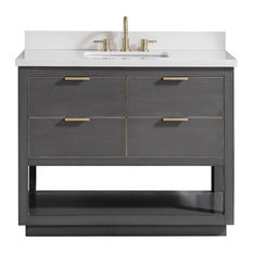 "Avanity Allie 37"" Vanity, Twilight Gray/Gold With White Quartz Top"
