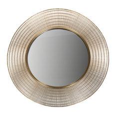 Gold Round Wall Mirror, 90 cm
