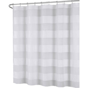White Semi Sheer Wide Striped Fabric Shower Curtain