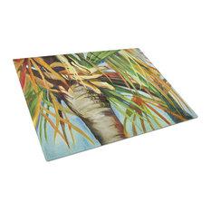 Orange Top Palm Tree Glass Cutting Board, Large JMK1129LCB