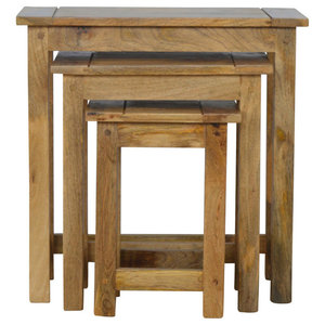 Solid Wood Stools, 3-Piece Set, Oak Finish Mango Wood