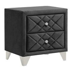 2 Drawer Velvet Upholstered Nightstand Gray