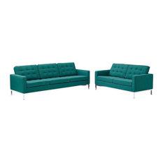 Modway Loft 2 Piece Upholstered Fabric Sofa And Loveseat Set EEI-2444-TEA-SET