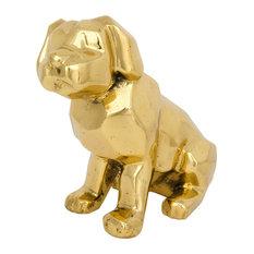 Puppy Dog Antique Brass Sculpture