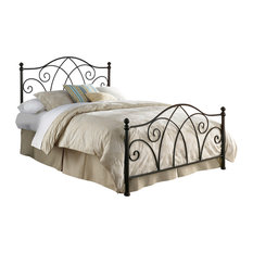 Deland Bed With Curved Grill Design and Finial Posts, Brown Sparkle, Queen