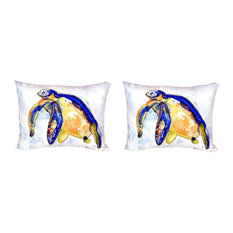 Pair of Betsy Drake Blue Sea Turtle - Left No Cord Pillows