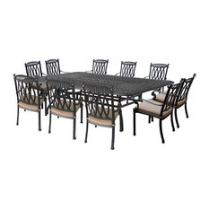 11-Pc Outdoor Dining Set in Black Finish
