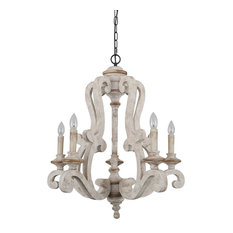 Antique 5-Light Wooden Candle Chandelier, Distressed White