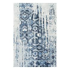 "Traditional Vintage Muted Flourish Rug, Blue, 8'6""x11'6"""