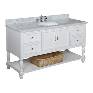 "Beverly 60"" Bath Vanity, Base: White, Top: Carrara Marble, Single Vanity"