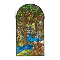"""Meyda Decorative 16""""Wx30""""H Tiffany Waterbrooks Stained Glass Window"""