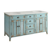 Abbeville Cottage Double Sink Vanity, Blue, 60""