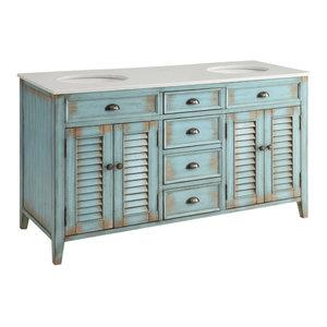 "Abbeville Cottage Double Sink Vanity, Blue, 60"""