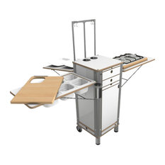 Live Moving Kitchen, 2-Ring Gas Stove With 2 Wheels, Pearl White